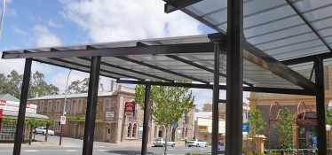 Ennis Park canopy using 10mm platinum heat reflective multiwall Makrolon polycarbonate sheets.